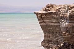 Härlig kust av det döda havet Arkivfoton