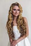 Härlig kvinna för brud i bröllopsklänningen - stil Royaltyfri Bild