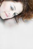 härlig kvinna för closeupframsida s Arkivbild