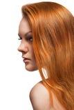 härlig kvinna för hårståendered royaltyfri fotografi