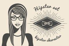 Härlig kvinna för tappningbakgrund i en hatthipster och en stilfull kläder, text för hipsterstilSunburst också vektor för coreldr Royaltyfria Bilder