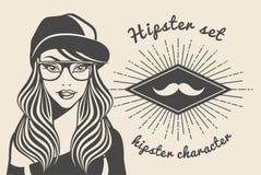 Härlig kvinna för tappningbakgrund i en lockhipster, hipsterstilSunburst med text också vektor för coreldrawillustration Royaltyfria Bilder