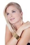 härlig kvinna för text för smyckenståendeavstånd Arkivbilder