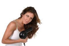 härlig kvinna för torkande hår 4 Royaltyfri Foto