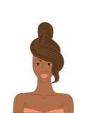 härlig kvinna för vektorillustrationafrikansk amerikan med en stilfull frisyr royaltyfri illustrationer