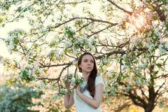 Härlig kvinna, i att blomstra äppleträd Fotografering för Bildbyråer