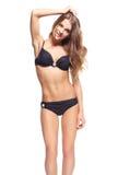 Härlig kvinna i bikini Arkivfoton