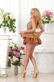 Härlig kvinna i brun klänning i lyxig inre. Royaltyfria Bilder