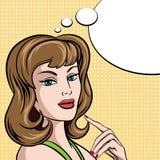Härlig kvinna i den komiska popet Art Style med bubblan Arkivbild