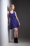 Härlig kvinna i den violetta klänningen på grå färger Arkivbilder
