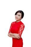 Härlig kvinna i dräkt för traditionell kines royaltyfria bilder