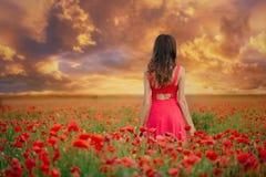 Härlig kvinna i en röd klänning i ett vallmofält på solnedgången från den tillbaka varma toningen, lycka och en sund livsstil royaltyfri bild