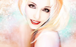 Härlig kvinna i ett färgrikt konstverk Fotografering för Bildbyråer