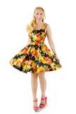 Härlig kvinna i färgrik fruktklänning fotografering för bildbyråer