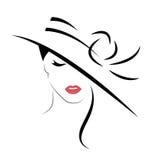 Härlig kvinna i hatt royaltyfri illustrationer