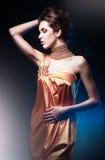 Härlig kvinna i lång klänning Arkivfoto