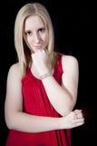 Härlig kvinna i Red Fotografering för Bildbyråer