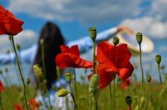 Härlig kvinna i vallmofältet av blommor Royaltyfria Bilder