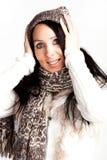 Härlig kvinna i vinterklänning Royaltyfri Foto
