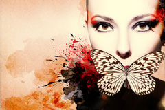 Härlig kvinna, konstverk med färgpulver i grungestil Arkivbild