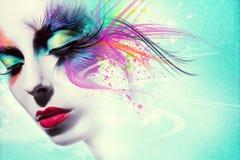 Härlig kvinna, konstverk med färgpulver i grungestil Royaltyfri Bild