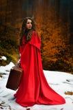 Härlig kvinna med den röda kappan och resväskan royaltyfri foto