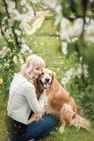 Härlig kvinna med en gullig golden retrieverhund som sitter i blommor fotografering för bildbyråer