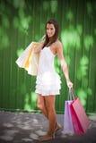Härlig kvinna med fem shoppingpåsar Royaltyfri Fotografi