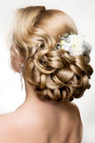 Härlig kvinna med guld- makeup härligt bröllop för brudmodefrisyr Royaltyfri Bild