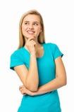 Härlig kvinna med handen på hakan Royaltyfri Fotografi