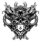 Härlig kvinna med horn på hennes huvud vektor illustrationer