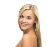 Härlig kvinna med långt hår Arkivfoto
