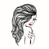 Härlig kvinna med långt, krabbt hår och djärv makeup och manikyr som trycker på hennes skuldra med handen stock illustrationer