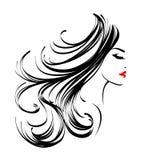 Härlig kvinna med långt krabbt hår och trevlig makeup stock illustrationer