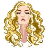 Härlig kvinna med långt lockigt guld- hår royaltyfri illustrationer