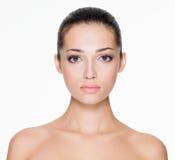 Härlig kvinna med ny hud av framsidan Royaltyfria Bilder