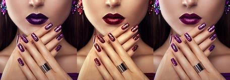 Härlig kvinna med olika bärande smycken för smink och för manikyr Tre varianter av stilfulla blickar Arkivbild