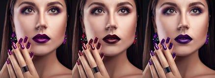 Härlig kvinna med olika bärande smycken för smink och för manikyr Tre varianter av stilfulla blickar Arkivbilder
