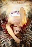 Härlig kvinna med rött hår Arkivbilder