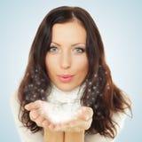 Härlig kvinna med snow Royaltyfria Bilder