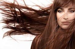 Härlig kvinna med ursnyggt långt brunt hår royaltyfria bilder