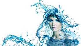 Härlig kvinna med vatten. Royaltyfri Fotografi