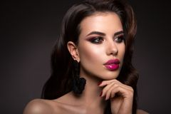 Härlig kvinna med yrkesmässigt smink Rosa kanter Fotografering för Bildbyråer