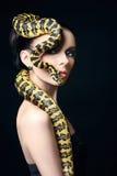 Härlig kvinna, orm, smycken, smink royaltyfria bilder