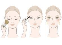 Härlig kvinna på makeuptillvägagångssätt vektor illustrationer