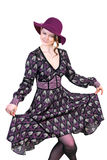 Härlig kvinna som dansar behagfullt Royaltyfri Fotografi