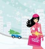 Härlig kvinna som gör shoppingen i vinter Royaltyfri Fotografi