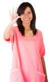 Härlig kvinna som ok gör en gest Royaltyfri Bild
