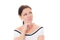 Härlig kvinna som plattforer på en white Arkivfoton