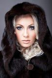 Härlig kvinna som poserar i pälslag Fotografering för Bildbyråer